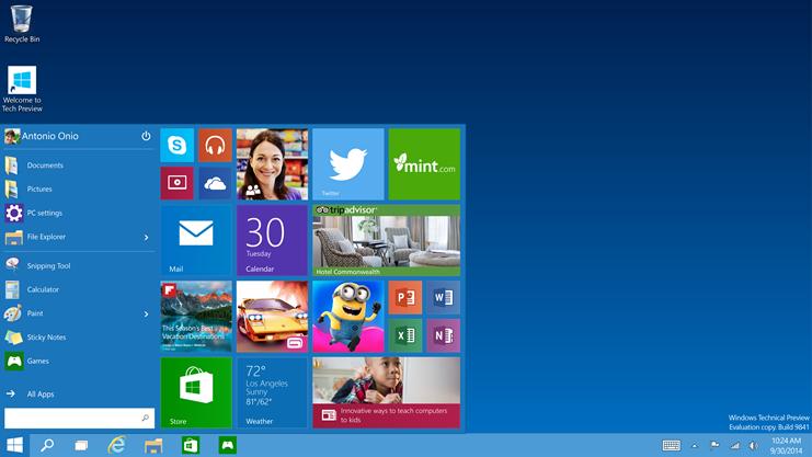 windows 10 with start menu screen shot